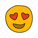 drawn, emoji, face, hand, heart, lovestruck, messenger icon
