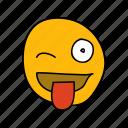 cheeky, drawn, emoji, hand, tease, tongue, wink icon