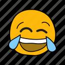 hand, tears, messenger, laughing, drawn, face, emoji icon