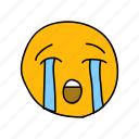 crying, drawn, emoji, face, hand, messenger, tears icon