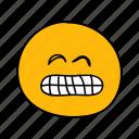 drawn, emoji, face, grin, hand, messenger, teeth icon