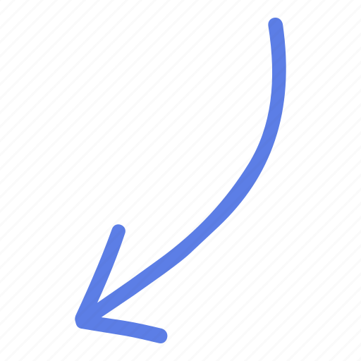 Arrow, circle, down, left, line, marker, smudge icon - Download on Iconfinder