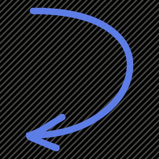 arrow, circle, down, left, line, marker, smudge icon