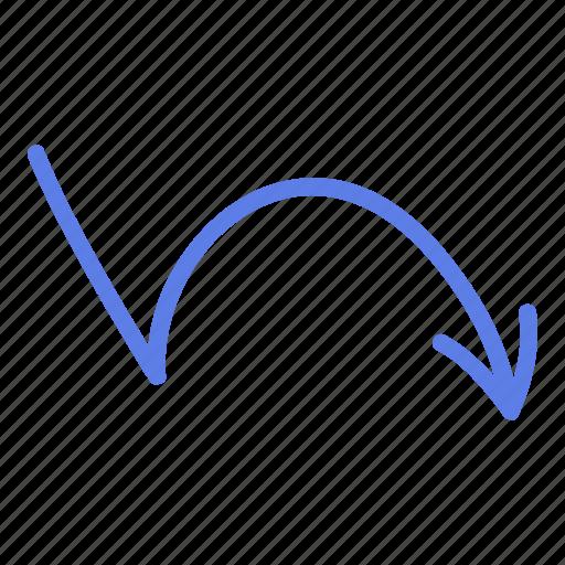 arrow, circle, down, line, marker, right, smudge icon