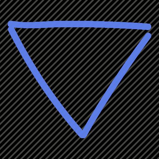 arrow, circle, delete, down, line, marker, smudge icon