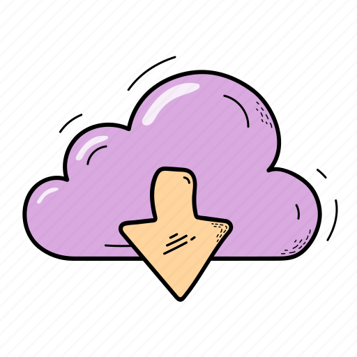 arrow, cloud, download, storage icon