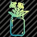 doodle, flowers, jar, leaves, plants, pot, vase icon