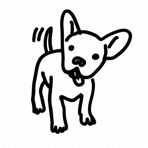 dog, handdrawn, happy, pup, puppy, tail, wag icon