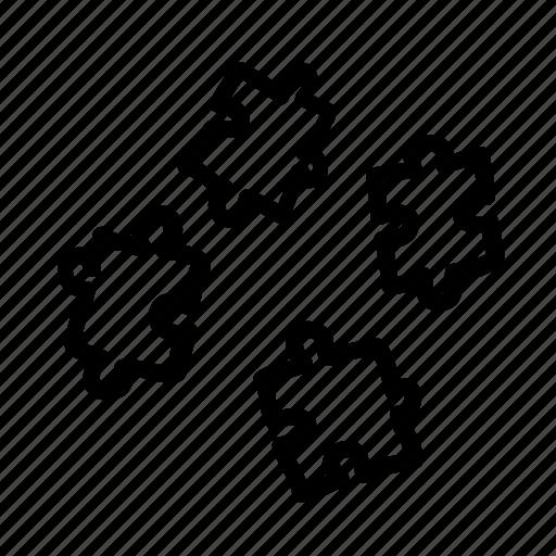 handdrawn, parts, pieces, puzzle, separate icon