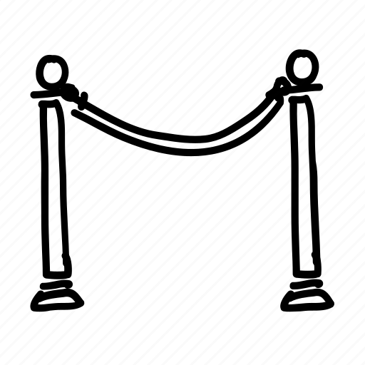 access, area, closed, handdrawn, private, rope, roped icon