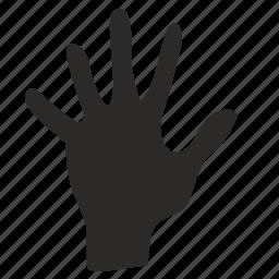 dactylogram, fingers, five, gesture, hand icon