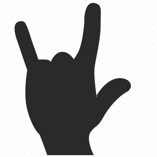fingers, gesture, hand, rock icon