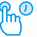 click, finger, longpresss, pointer, tap, time, tool icon