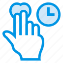 arrow, double, gesture, pointer, schedule, tap, time
