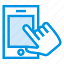 click, device, finger, hand, mobile, technology, touch icon