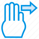 finger, gesture, hand, pointer, slide, swipe, touch icon