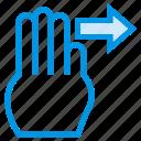 finger, gesture, hand, pointer, slide, swipe, touch icon