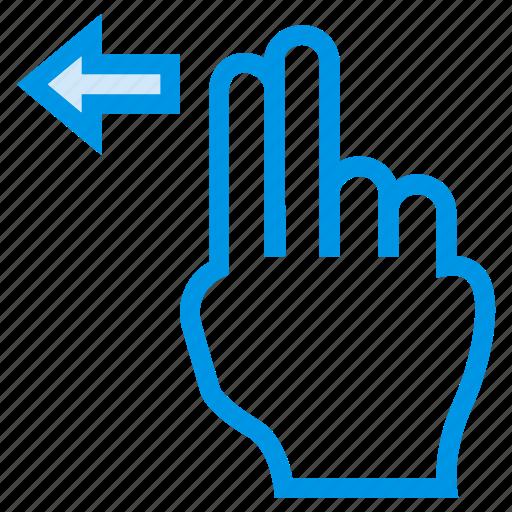 finger, gesture, horizontal, left, slide, swipe, touch icon