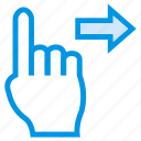 finger, gesture, right, slide, swipe, tap, touch icon