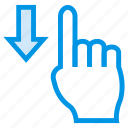 down, finger, gesture, slide, swipe, touch, vertical icon