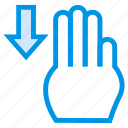down, finger, gesture, pointer, swipe, touch, vertical icon