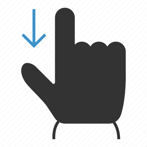 action, arrow, down, gestures, swipe, tap, touch icon