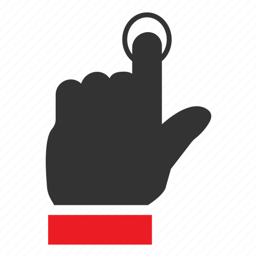 click, finger, point, single, tap, tool, touch icon