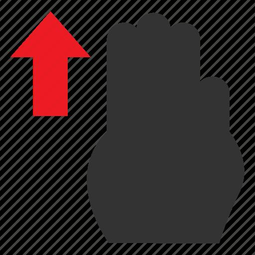 arrow, pointer, slide, swipe, swipeup, touch, vertical icon