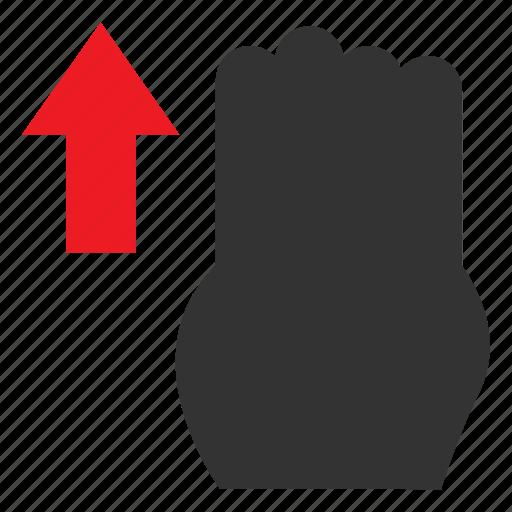 arrow, finger, gesture, swipe, swipeup, touch, vertical icon