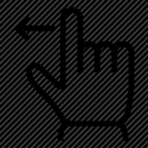 arrow, gesture, left, slide, swipe, tap, touch icon