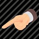 cartoon, finger, hand, index, indicator, isometric, point icon