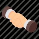 agreement, cartoon, hand, handshake, isometric, shake, trust