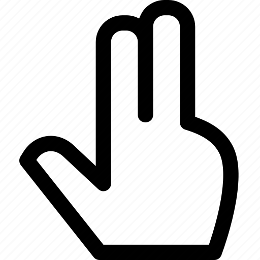 fingers, hand, index, interaction, middle, touch, two icon