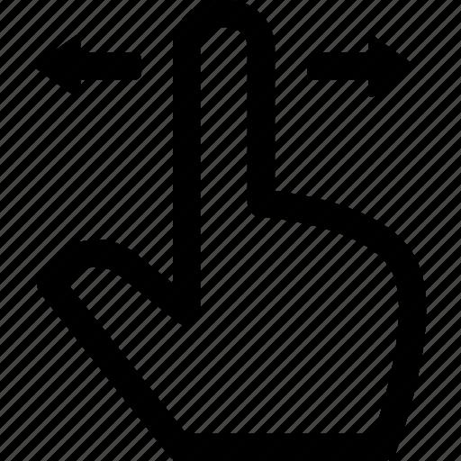 gesture, hand, horizontal, interaction, screen, sides, swipe icon