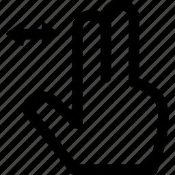 drag, finger, horizontal, screen, swipe, touch, two icon