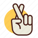 cross, fingers, gesture, hand, interaction icon