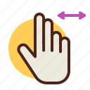 fingers, gesture, handt, interaction, leftrigh, two icon