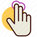 fingers, gesture, hand, interaction, move, two icon