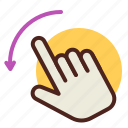 fingers, gesture, handeft, interaction, l, rotate, two icon