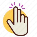 fingers, gesture, hand, interaction, touch, two icon
