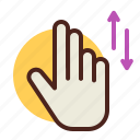 fingers, gesture, handcal, interaction, two, up, verti icon