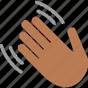 greeting, hand, hello, hi, wave, waving, black icon