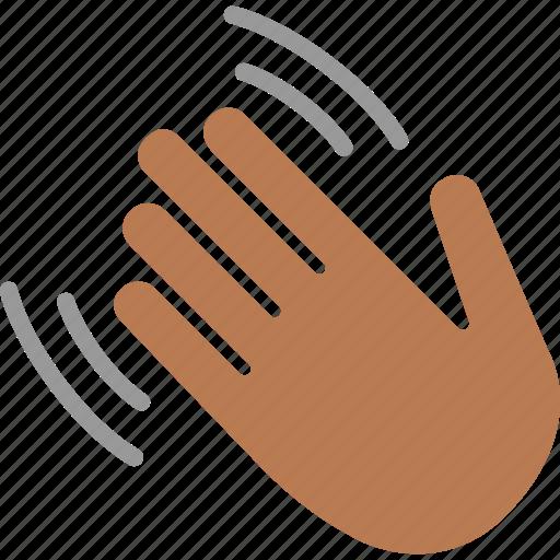 Black, greeting, hand, hello, hi, wave, waving icon