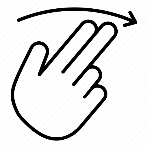 arrow, finger, flick, right, slide, swipe, touch icon