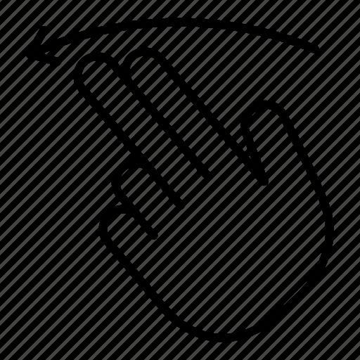 arrow, finger, flick, left, slide, swipe, touch icon