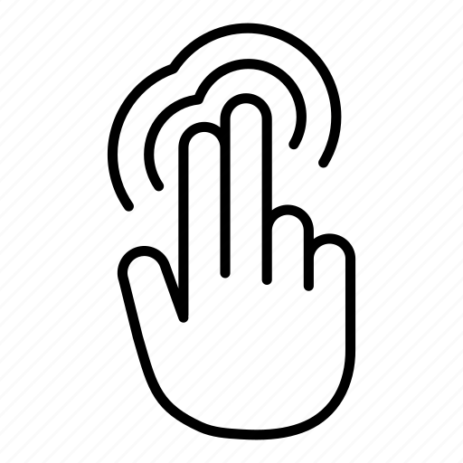 double tap, finger, gesture, hand, tap, touch, two finger icon