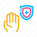 cross, hand, plus, shield