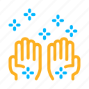 bright, cleaned, hands, health, protection icon