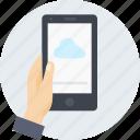 cloud, data, hand, internet, mobile, share