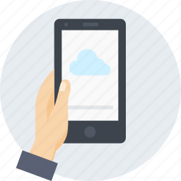 cloud, data, hand, internet, mobile, share icon